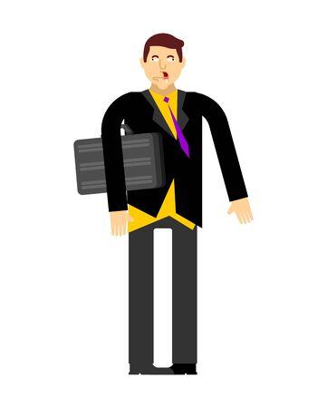Idiot boss. Nerd businessman isolated. vector illustration