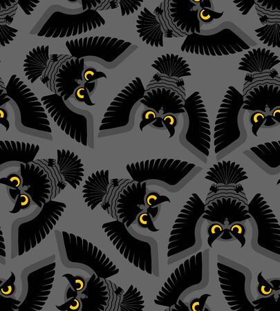 Owl pattern seamless. Eagle-owl bird background. vector ornament. Baby fabric texture Illustration