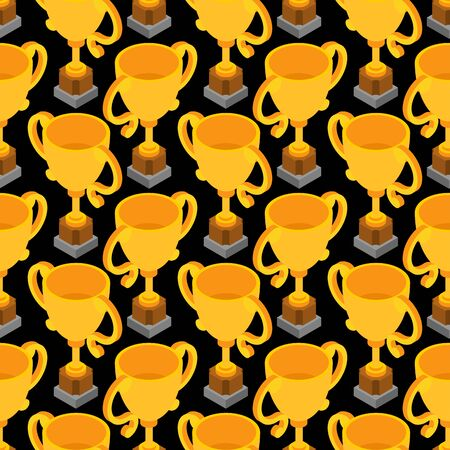 Gold cup pattern seamless. Golden goblet background. Achievement reward. vector texture