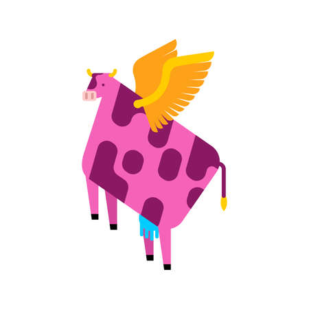 Flying cow cartoon. beef with wings. vector illustration