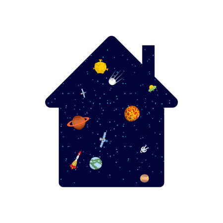 Cosmos inside house. Stars in home. Inner world concept Microcosm Illustration