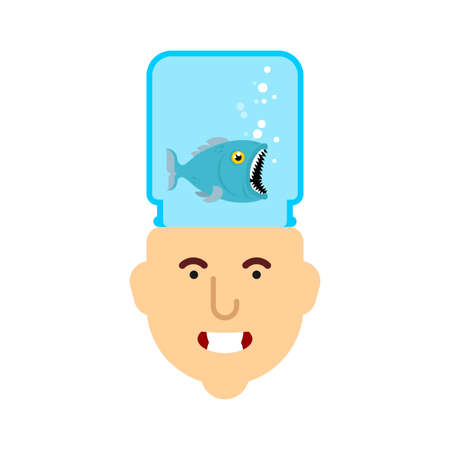 Fish in head. Head aquarium with fish. vector illustration Illustration