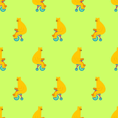 Bear on bicycle pattern seamless. Beast rides bicycle background. Baby fabric texture