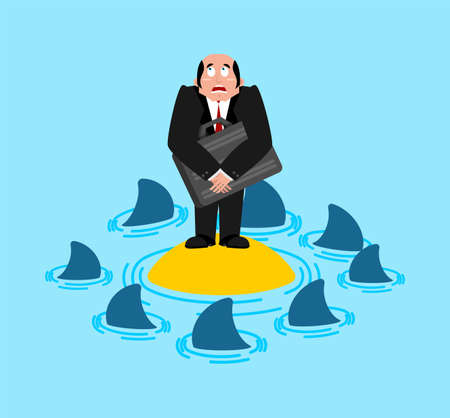 Businessman on desert island and sharks. vector illustration