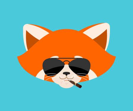 Red panda smoking cigar emoji. Wild animal Cool serious avatar of emotions. Beast strict. Vector illustration Vettoriali