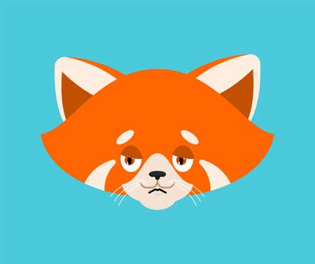 Red panda sad emoji. Wild animal sorrowful. Beast dull. Vector illustration Vector Illustration