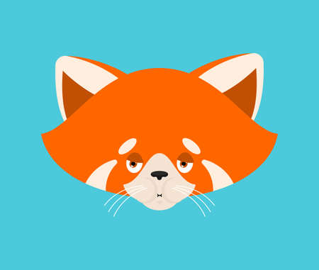 Red panda sick emoji. Animal ill emotions. Beast vector illustration