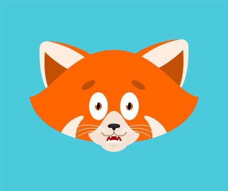 Red panda scared OMG avatar emotion. Wild animal Oh my God emoji. Frightened beast. Vector illustration