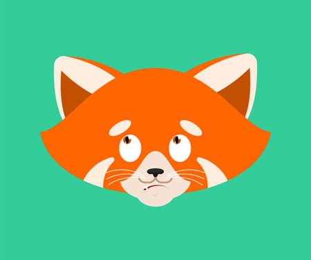 Red panda confused emoji face avatar. Wild animal is perplexed emotions. Beast surprise. Vector illustration Illustration