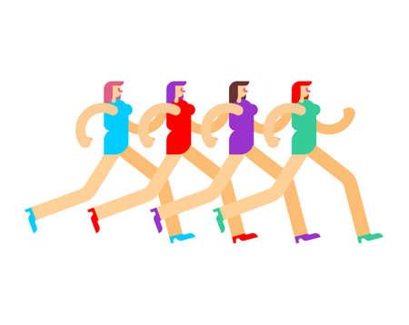 Women in dress is running. Many girls run. vector illustration