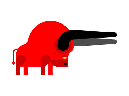 Bull isolated. ox cartoon animal. vector illustration