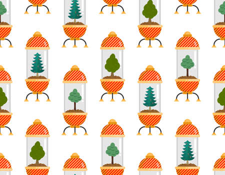 Tree in Glass Bell pattern seamless. Nature conservation concept background. Laboratory jar and wood. Protecting nature in future