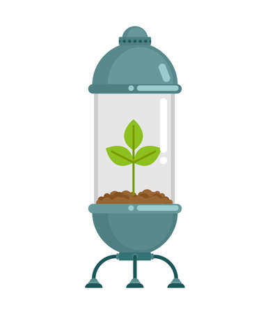 Tree in glass flask. Plant in Glass Bell. Nature conservation concept. Laboratory jar and wood. For poster about environment Vektorgrafik