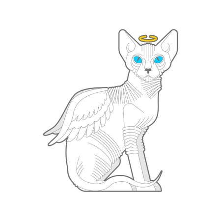 Angel cat. White cat with wings. vector illustration Stock fotó - 155752870