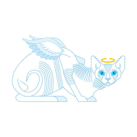 Angel cat. White cat with wings. vector illustration