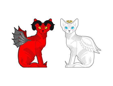 Cat Angel and demon. Red cat with devil horns. White pet with wings and halo