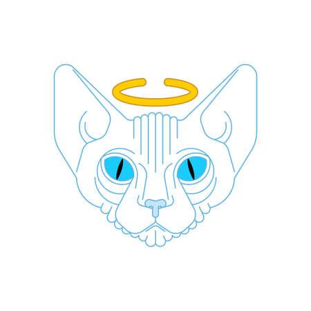 Angel cat face. White pet. vector illustration