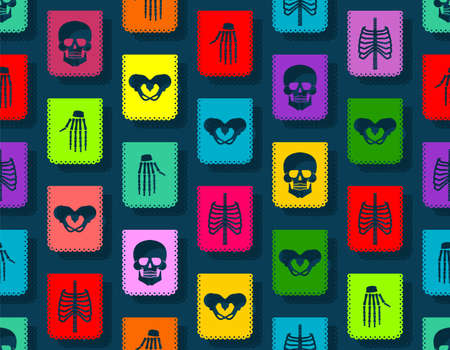 Day of the Dead pattern seamless. Dia de Muertos background. Skull and skeleton ornament