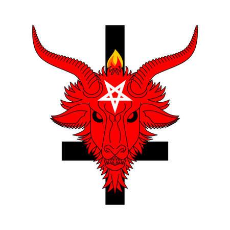 Baphomet Demon. Satanic symbol. Satan with goat head. Devil symbol pentagram. Vektorgrafik