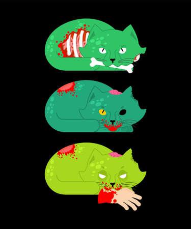 Zombie cat. Pet zombi. Kitten revived dead. kitty green monster Vektorové ilustrace