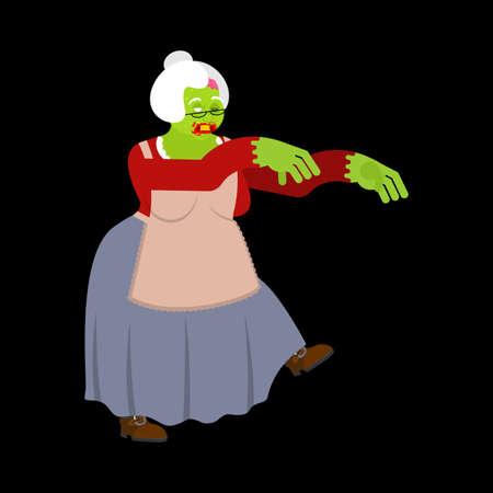 Zombie granny. Grandmother zombi. Grandma revived dead. Green monster old woman Vektorové ilustrace