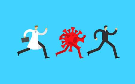 Coronavirus is running after man. COVID-19 virus is coming. World epidemic