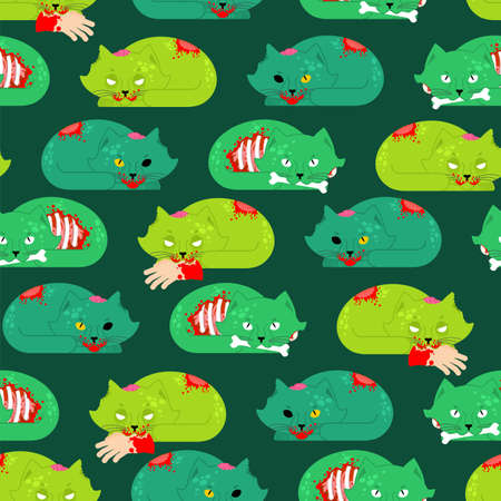 Zombie cat pattern seamless. Pet zombi background. Kitten revived dead texture. kitty green monster ornament