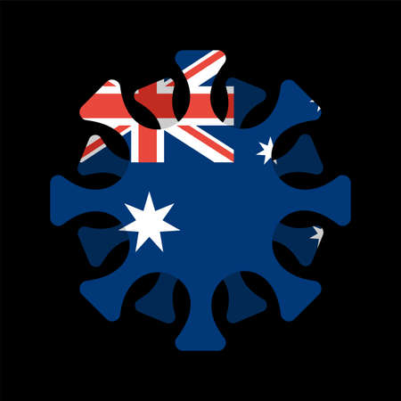 Coronavirus in Australia. Microbe COVID-2019 in Australian flag. World epidemic. Pandemic. Country in lockdown