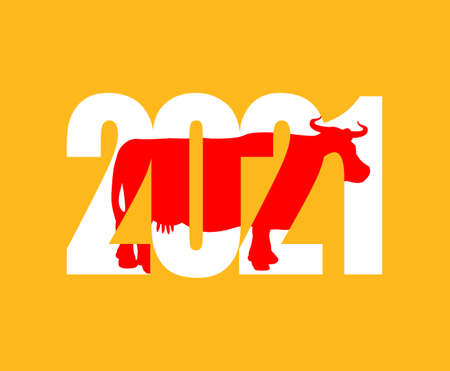 2021 year of cow. Bull Symbol of year lettering cow and numbers
