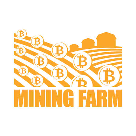 Mining Farm. Miners sign bitcoin. Arable land and farm lands Cryptocurrency is growing