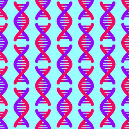 DNA strand pattern seamless. Deoxyribonucleic Acid Molecule background. Genetic chromosome spiral texture Vetores