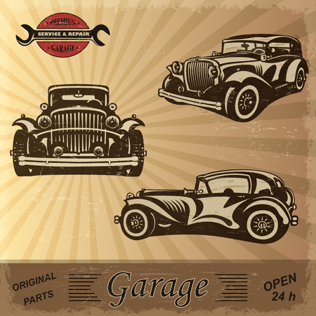 classic': Vintage garage retro banner Illustration
