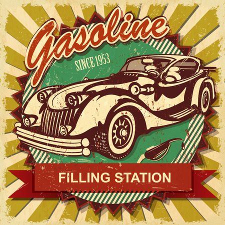 old vintage: Filling station retro poster