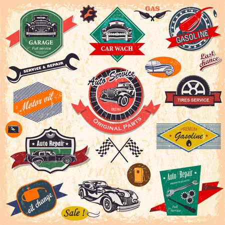 Set of retro vintage car labels Иллюстрация