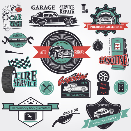 vintage banner: Set of retro vintage car labels Illustration