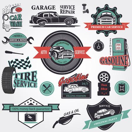 Set of retro vintage car labels Illustration