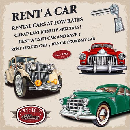 Rent a car retro poster. Иллюстрация