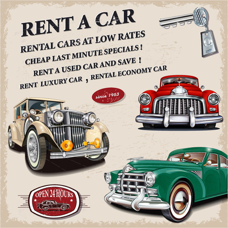 automobile dealer: Rent a car retro poster. Illustration