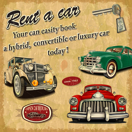 rent a car: Rent a car retro poster. Illustration