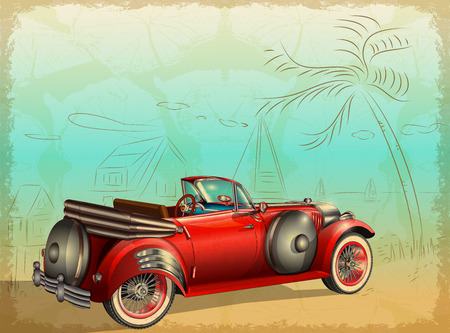 Retro car on summer background with palm trees and seascape Vettoriali