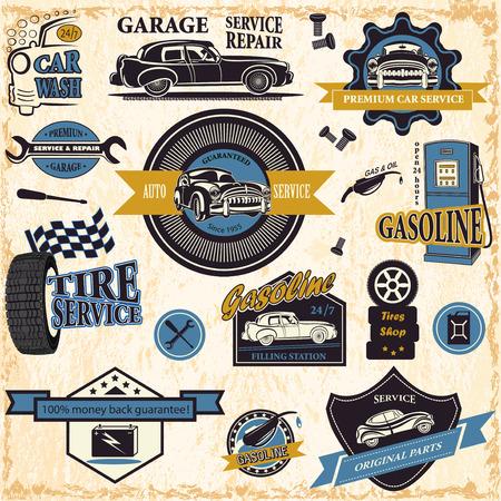 repair shop: Set of retro vintage car labels Illustration