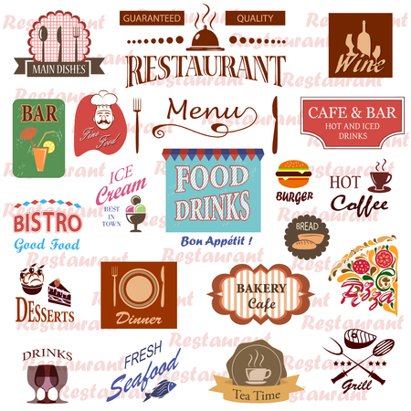 vintage kitchen: Set of food and drink labels,icons for restaurant and cafe.