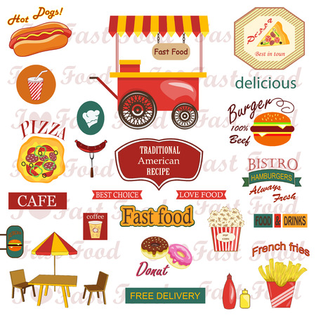 fry: Set of food and drink labels,icons