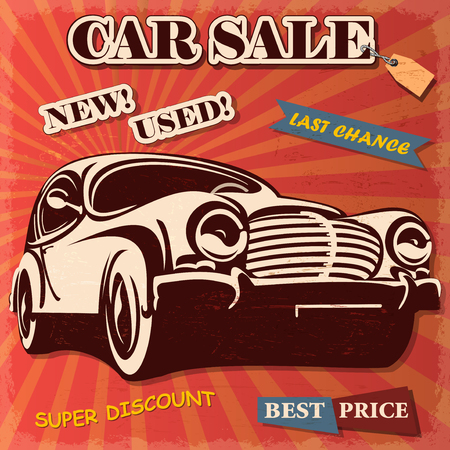 automobile dealer: Car sale retro poster