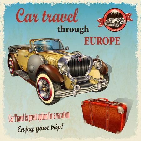 reise retro: Auto-Reise Retro Plakat. Illustration
