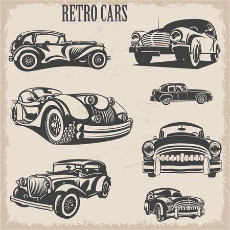 Sets van silhouet retro auto