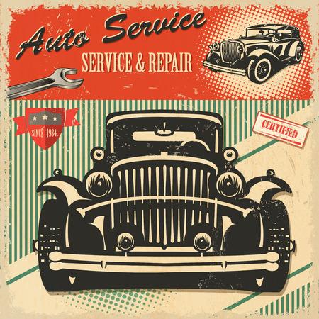 Vintage Auto Service retro poster Иллюстрация