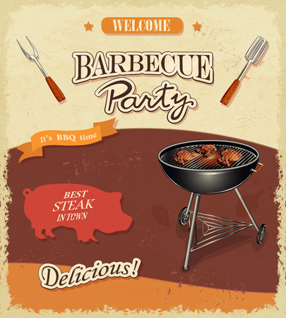 barbecue ribs: Vintage BBQ banner