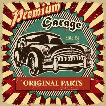 old cars: Vintage garage retro poster