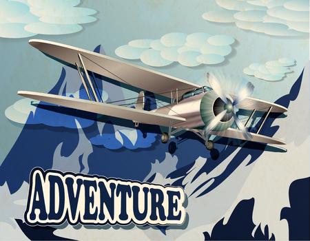 biplane: retro poster with mountain and vintage biplane